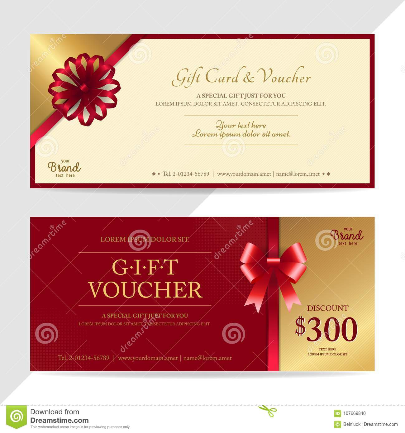Gift certificate, voucher, gift card or cash coupon template in