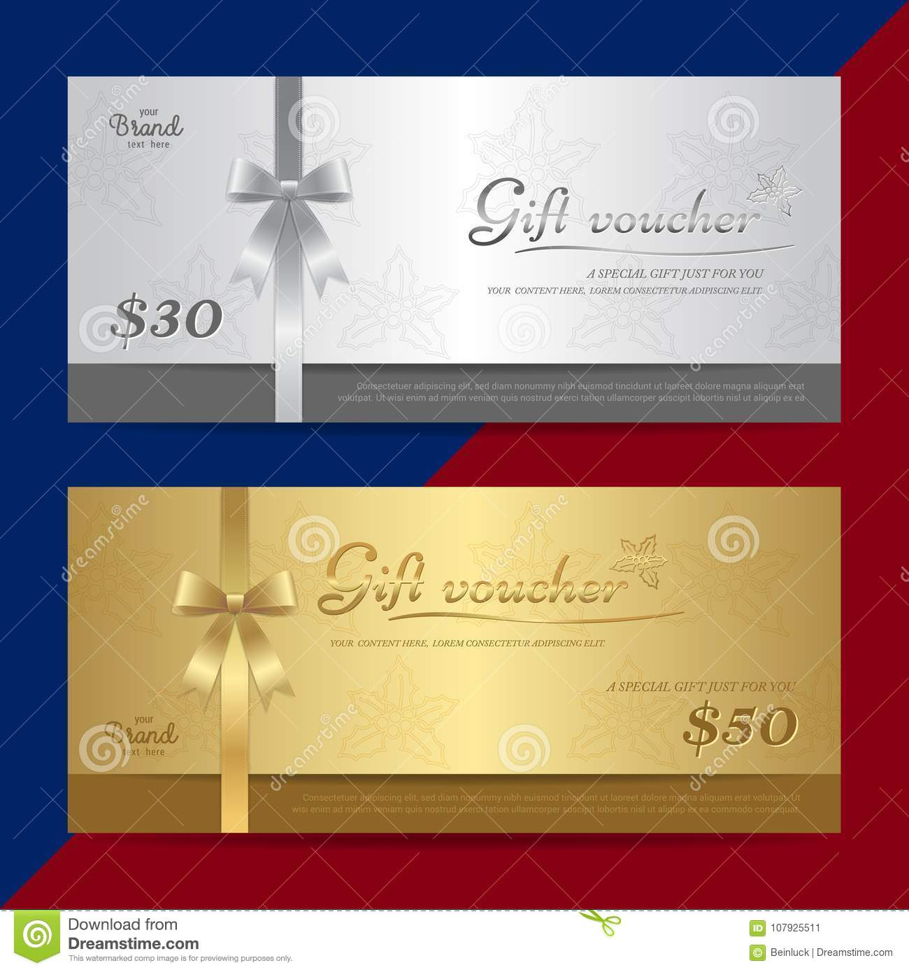 gift certificate voucher gift card or cash coupon template in