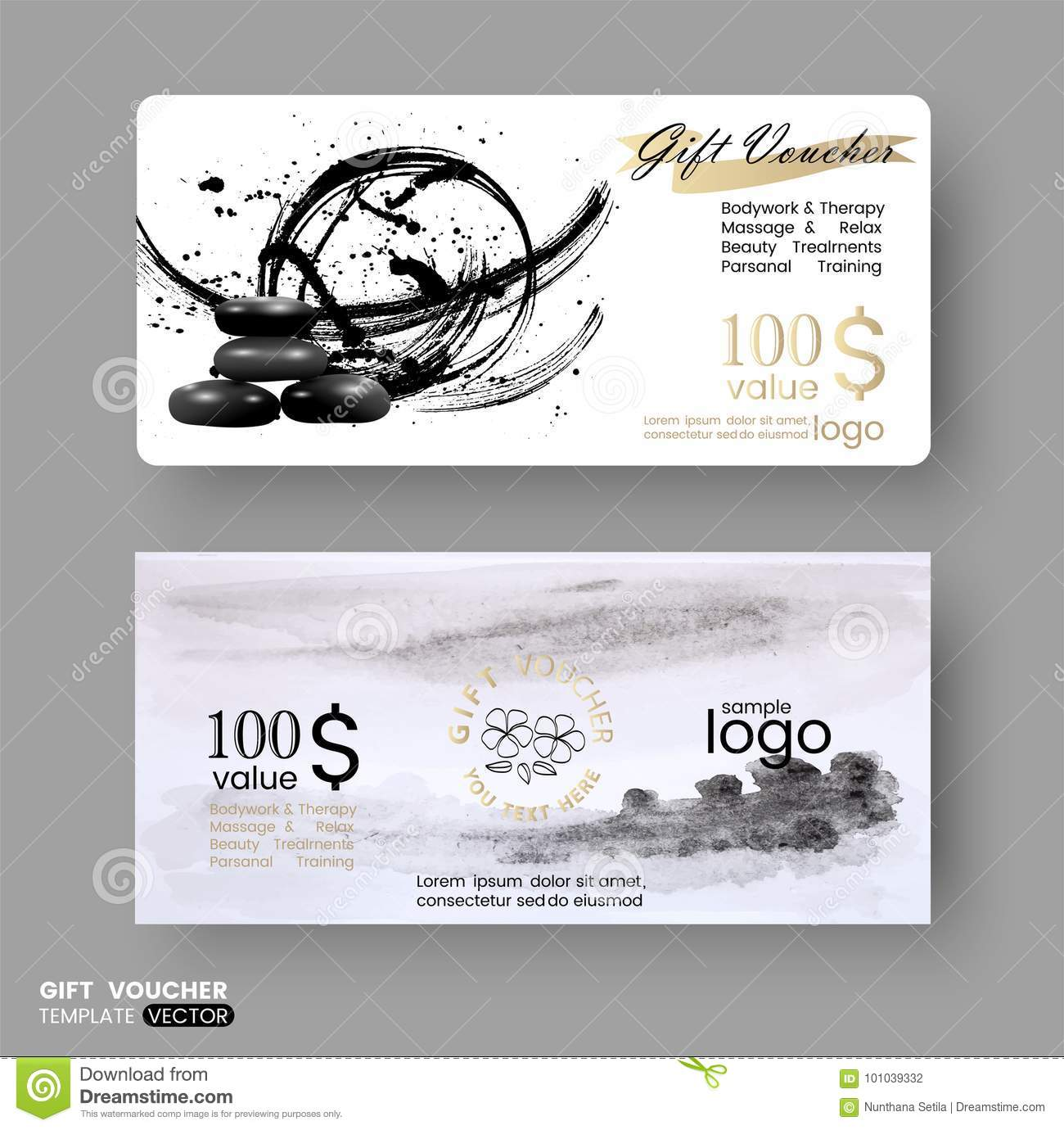 Gift Certificate Voucher Coupon Business Cards Template With Line