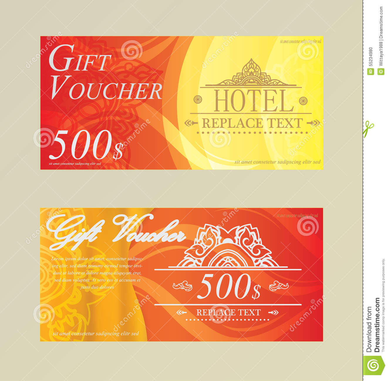 gift certificate voucher coupon card hotel restaurant thai stock gift certificate voucher coupon card hotel restaurant thai