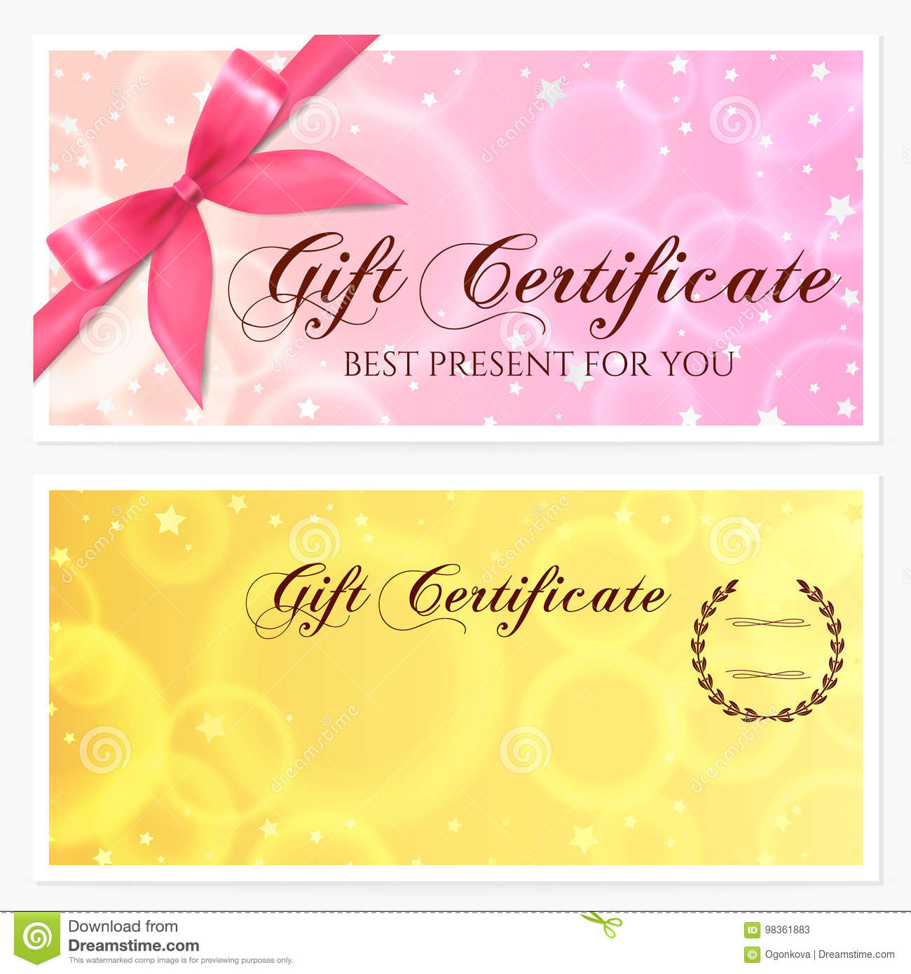 gift certificate voucher coupon gift card template with stars and