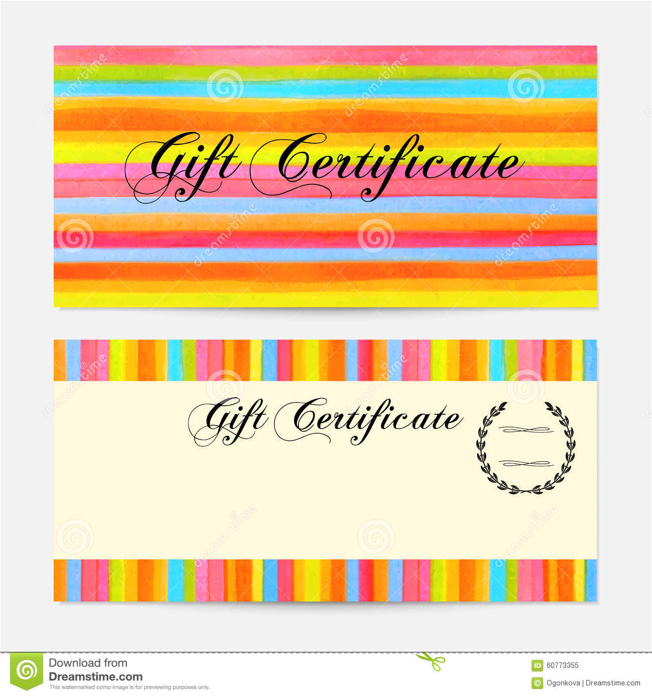 gift certificate voucher coupon gift money bonus gift card template with colorful stripy. Black Bedroom Furniture Sets. Home Design Ideas