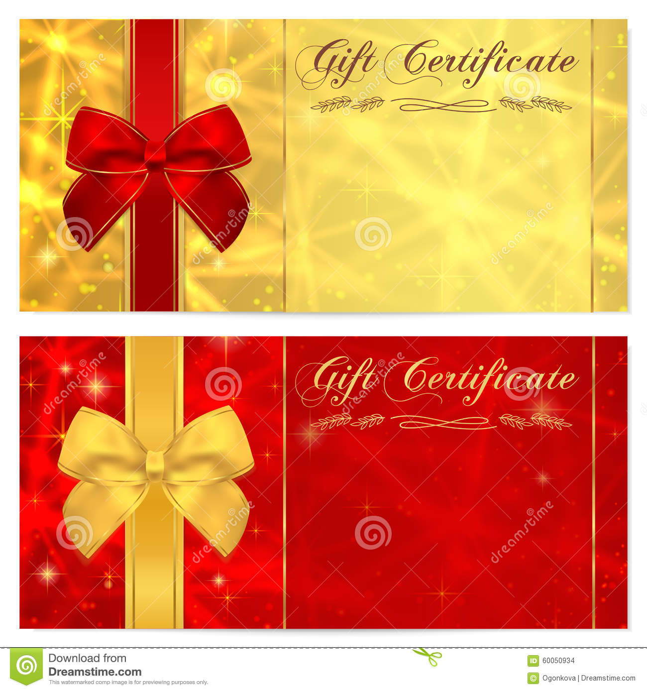 gift certificate voucher coupon invitation or gift card template with sparkling twinkling. Black Bedroom Furniture Sets. Home Design Ideas