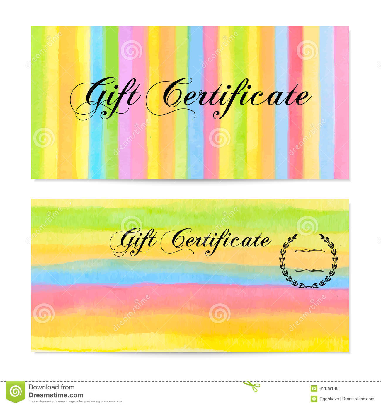 Gift Certificate, Voucher, Coupon, Money Bonus, Card Template With ...