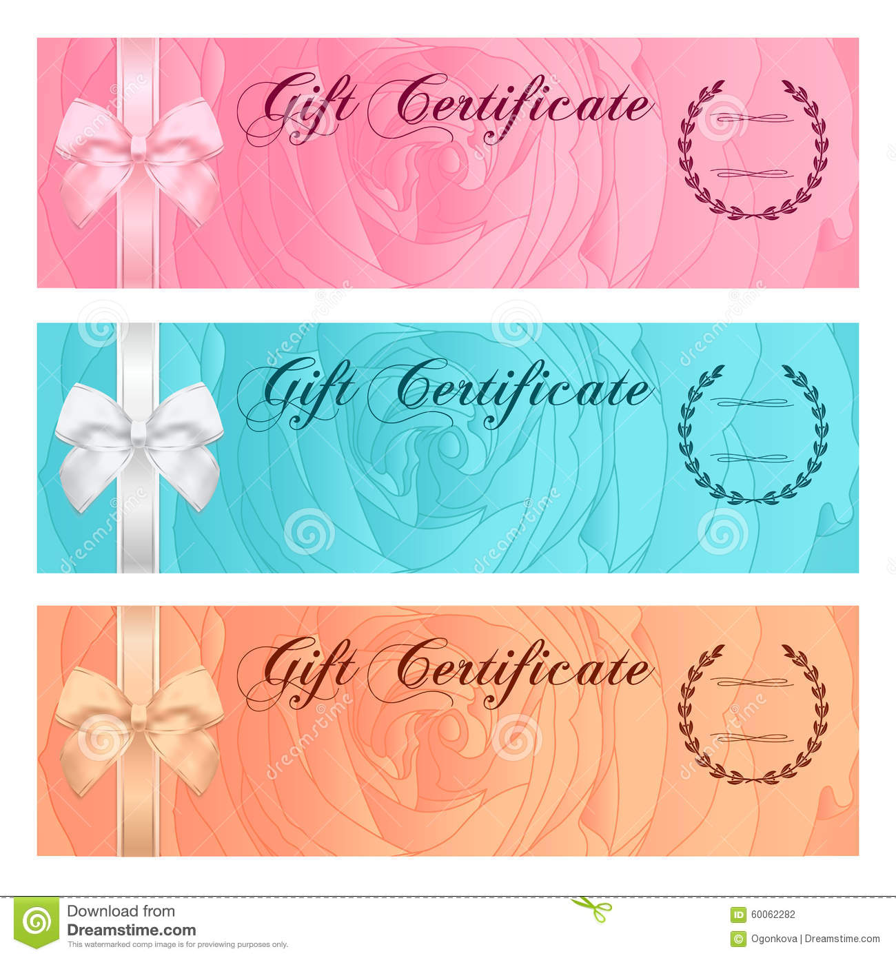 gift certificate voucher template bow pattern royalty gift certificate voucher coupon reward or gift card template floral rose pattern