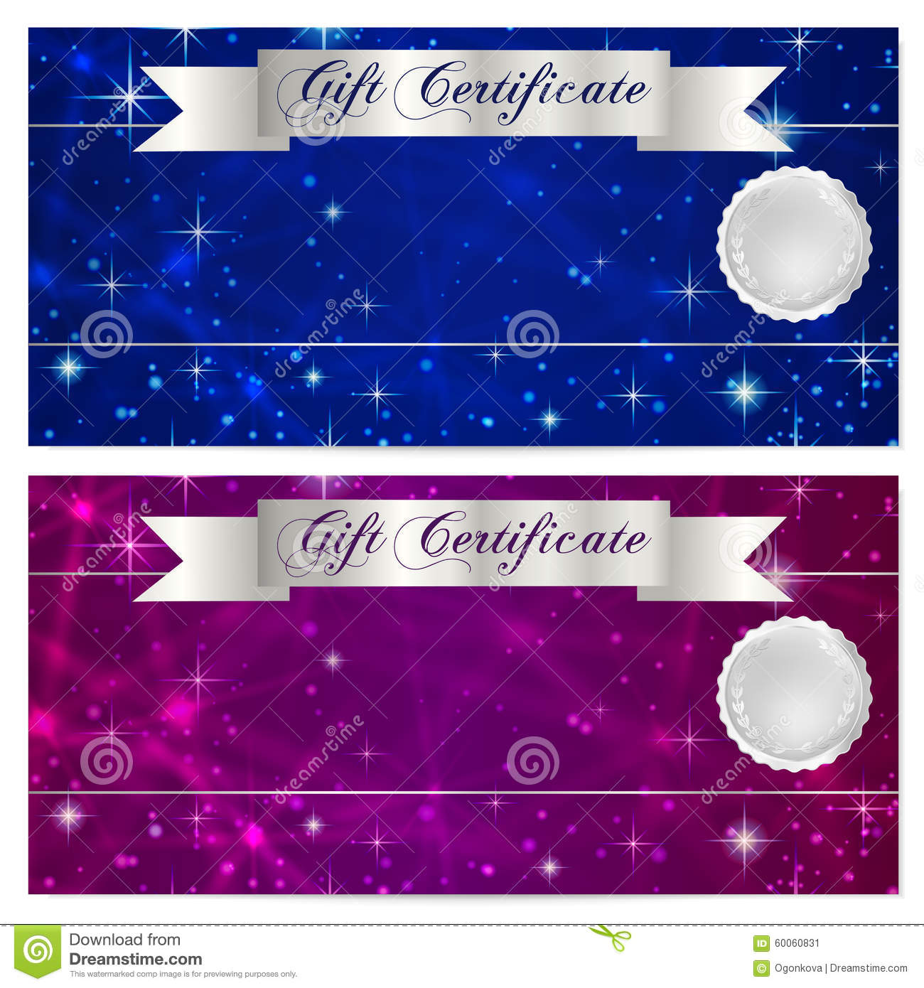 Gift certificate, Voucher, Coupon, Reward or Gift card template with sparkling, twinkling stars texture (pattern). Night sky