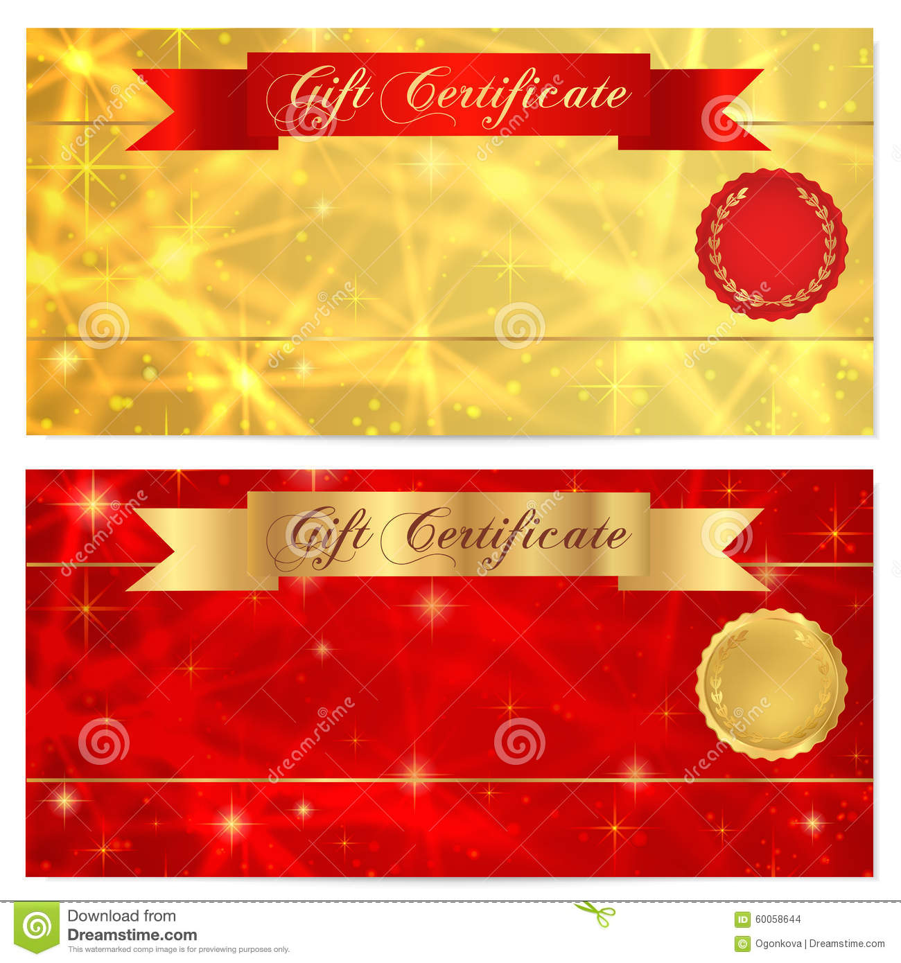 gift certificate voucher coupon reward or gift card template with sparkling twinkling stars. Black Bedroom Furniture Sets. Home Design Ideas