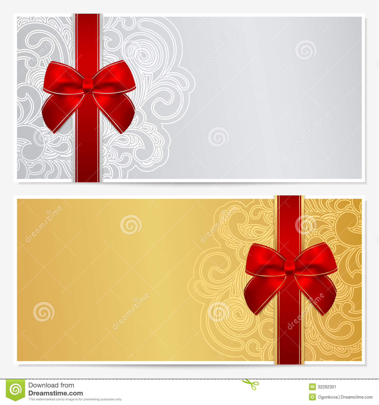 Gift Certificate Voucher Coupon Template Stock Vector