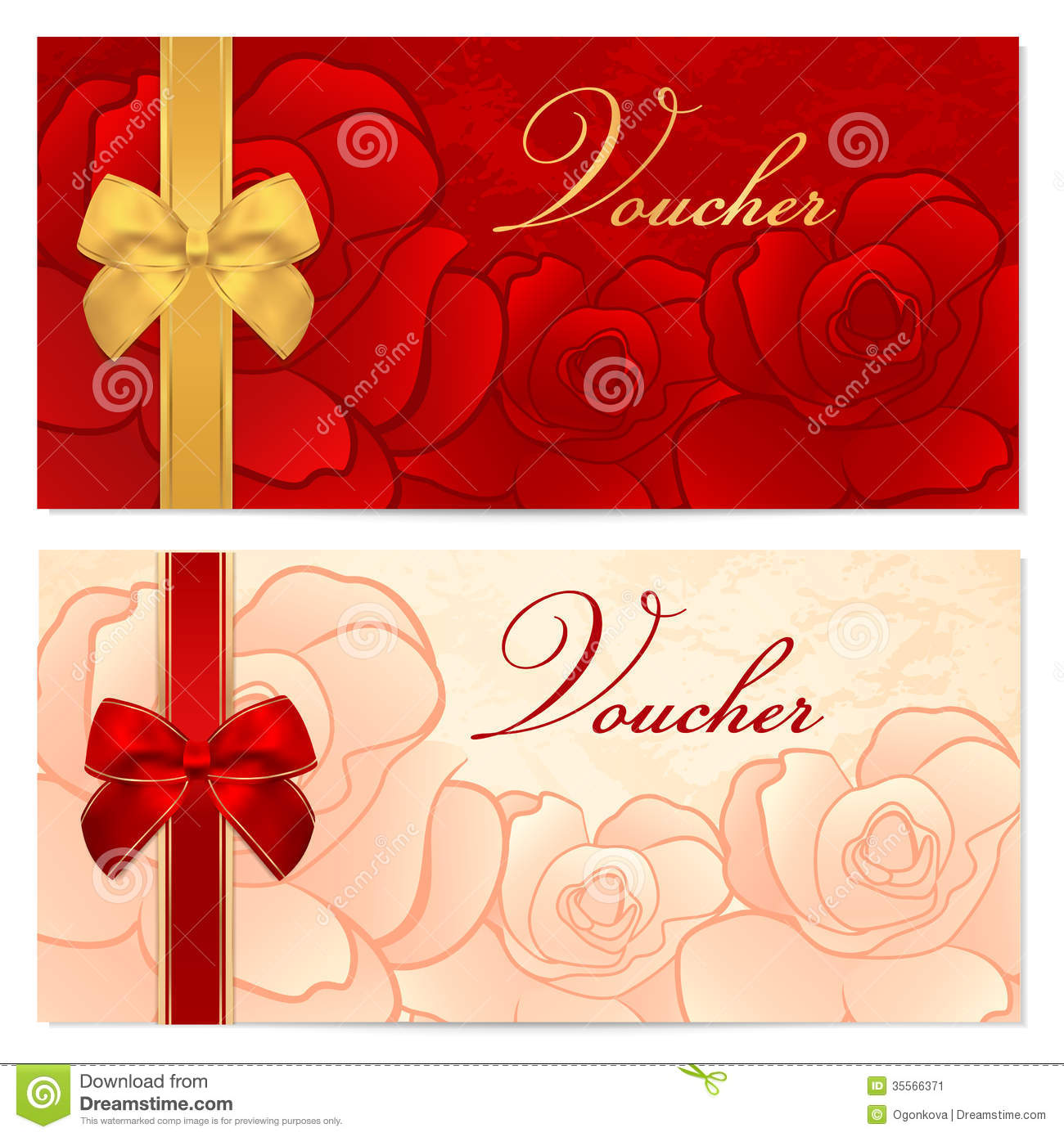Gift Certificate (Voucher) Template. Bow, Pattern Royalty Free ...