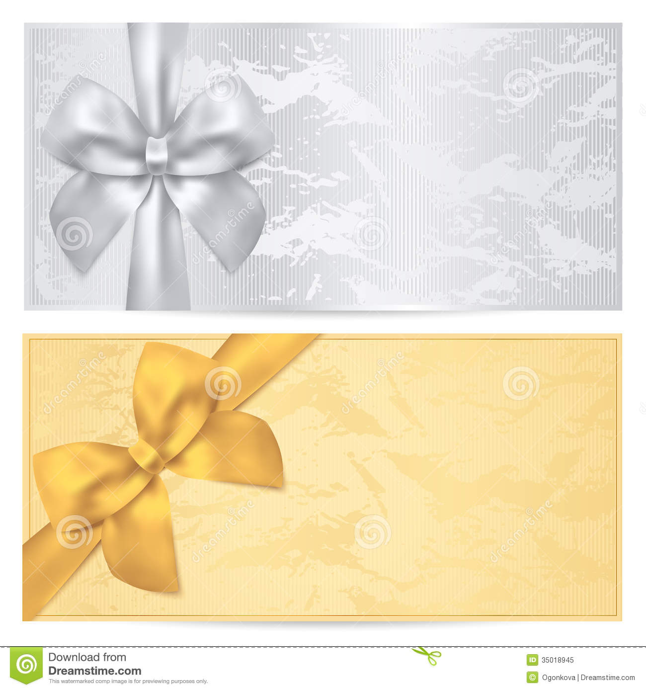 Gift Certificate Voucher Coupon Template Bow Stock