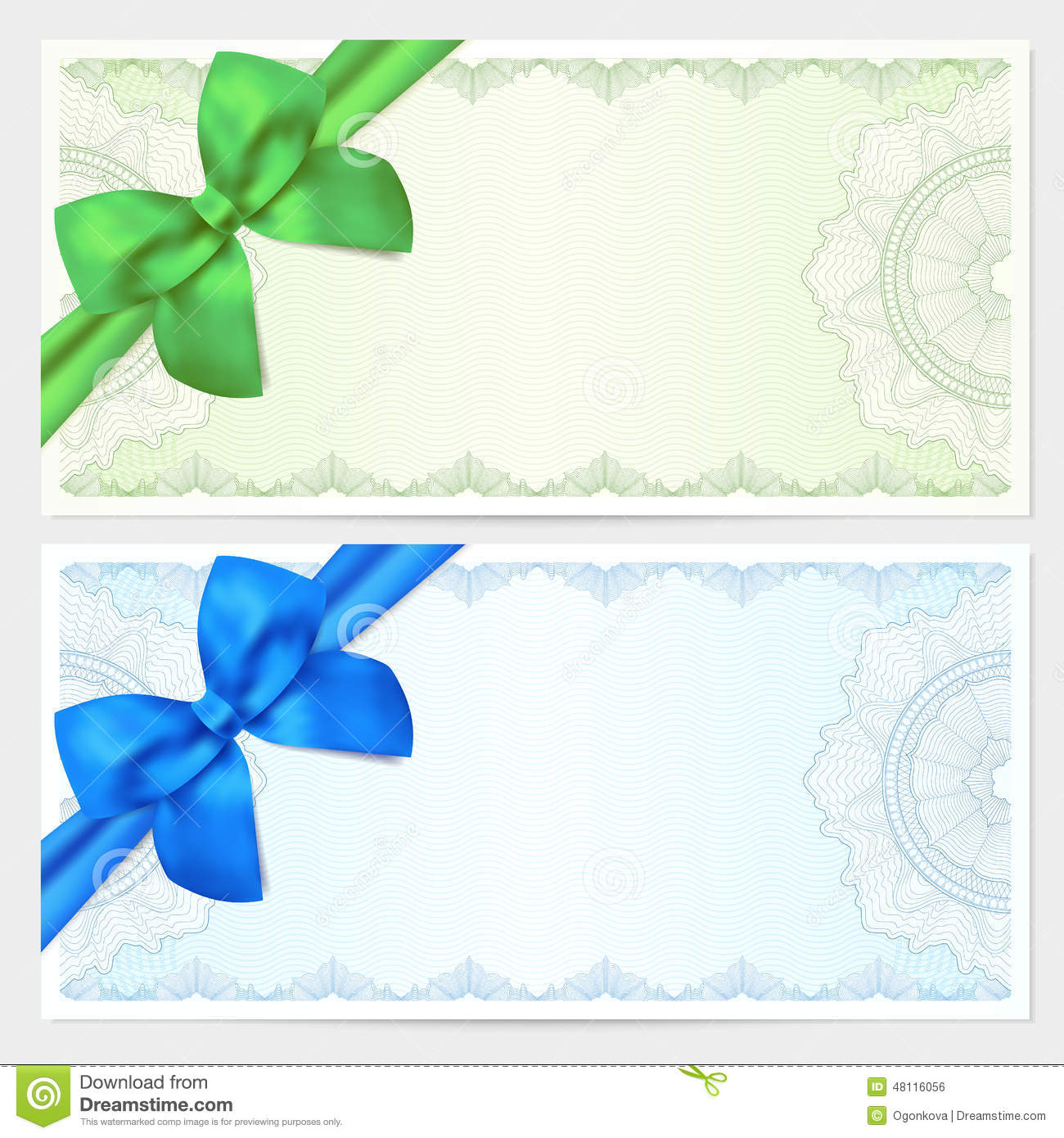 Gift Certificate Voucher Coupon Template With Bow Stock Vector