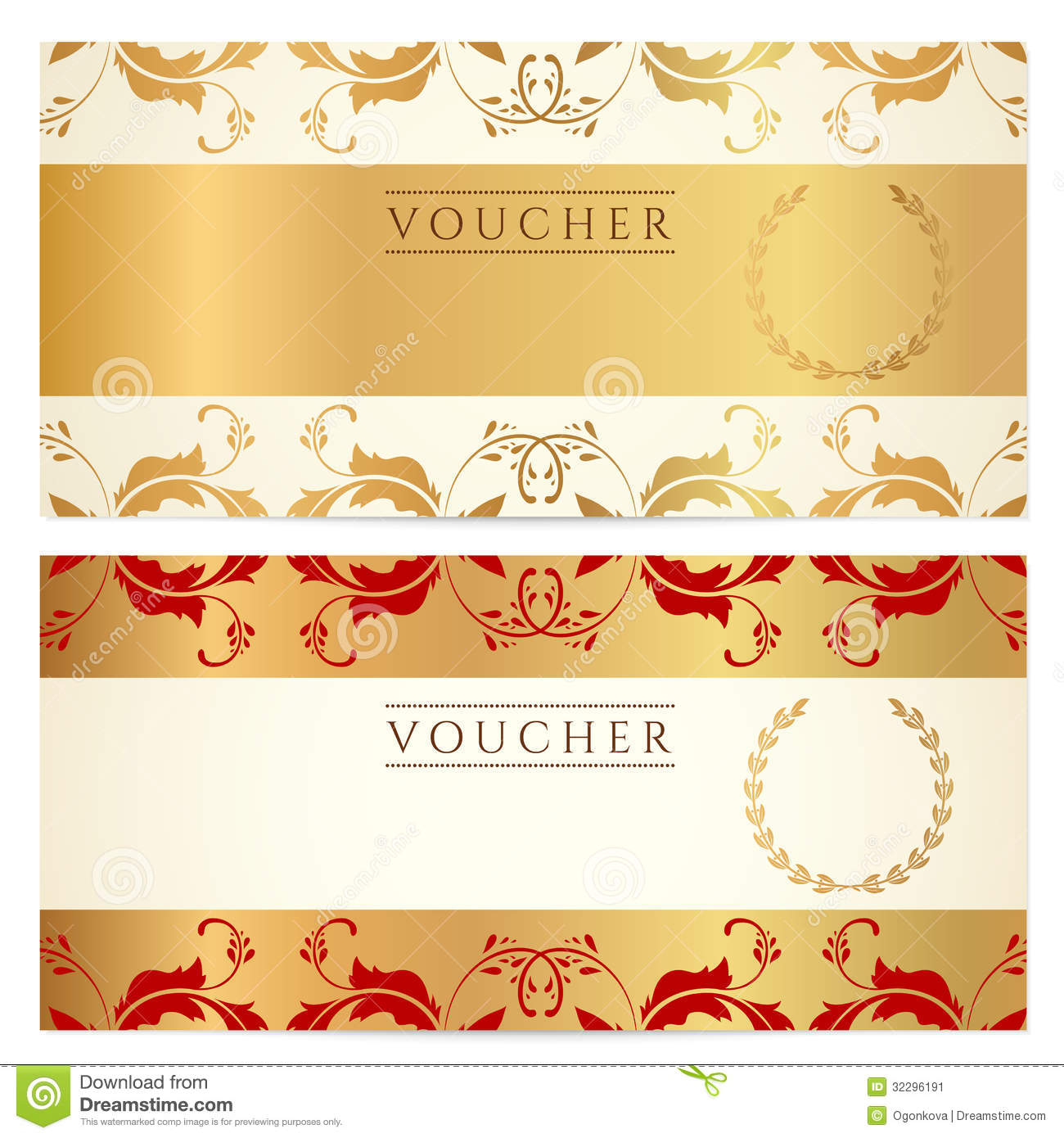 voucher gift certificate template gold pattern royalty gift certificate voucher coupon template stock image
