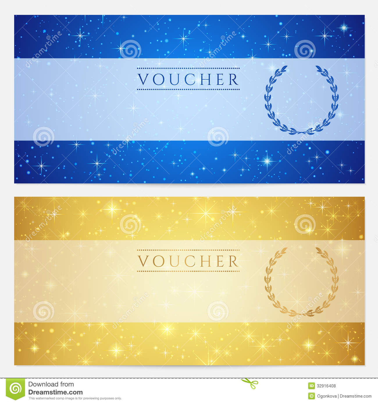 Coupon Voucher Design Template Gift Certificate Voucher Coupon Template  Stars Sparkling Twinkling Night Sky Background Design  Coupon Layouts