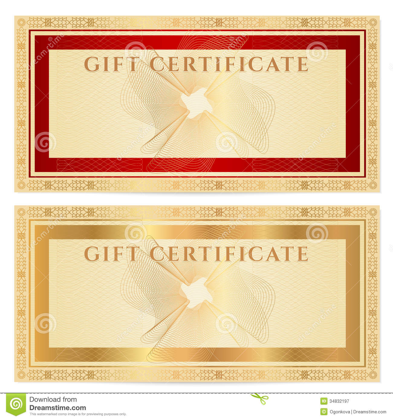 gift certificate voucher template with borders stock vector