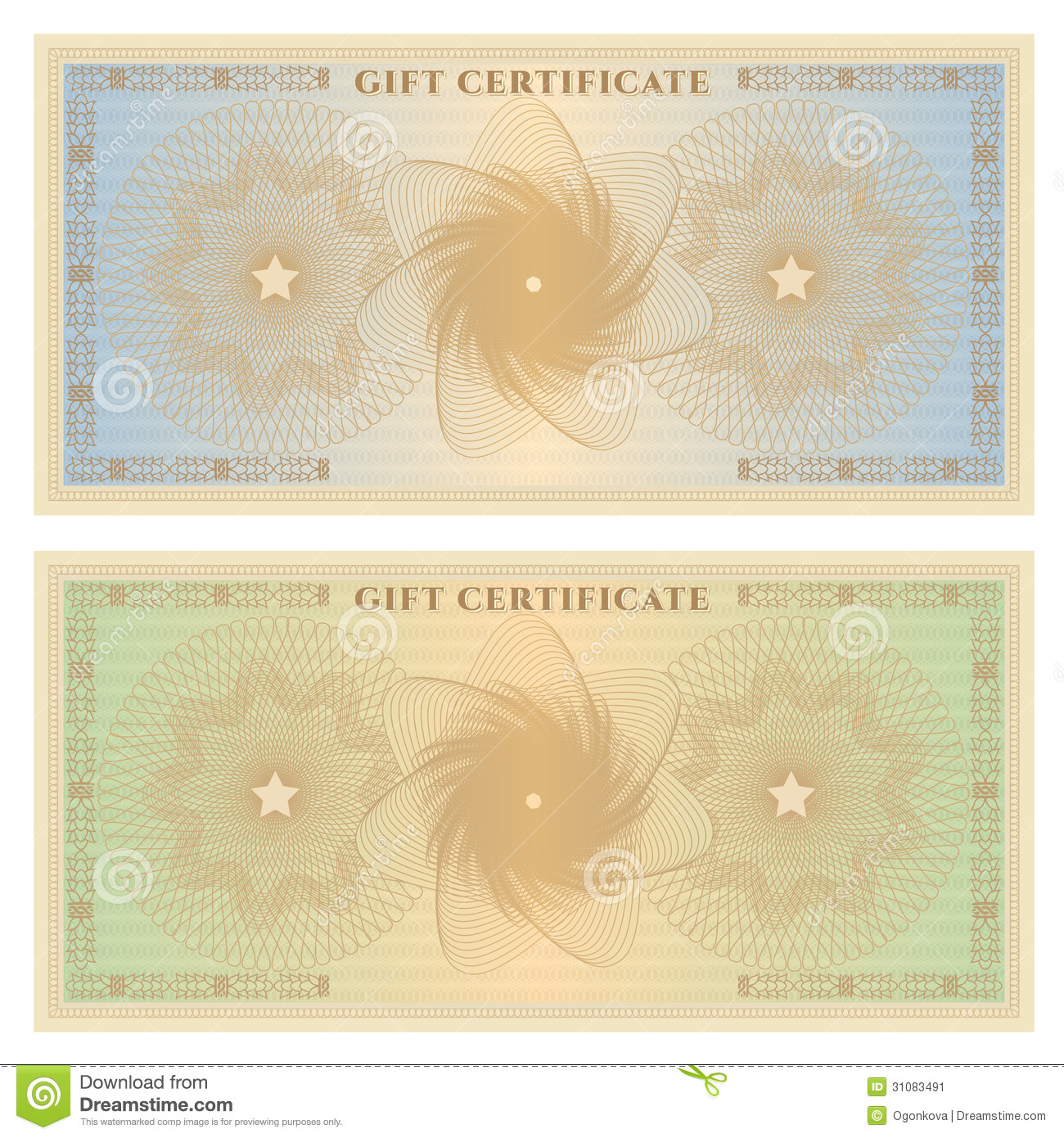 gift certificate  voucher  template with borders stock