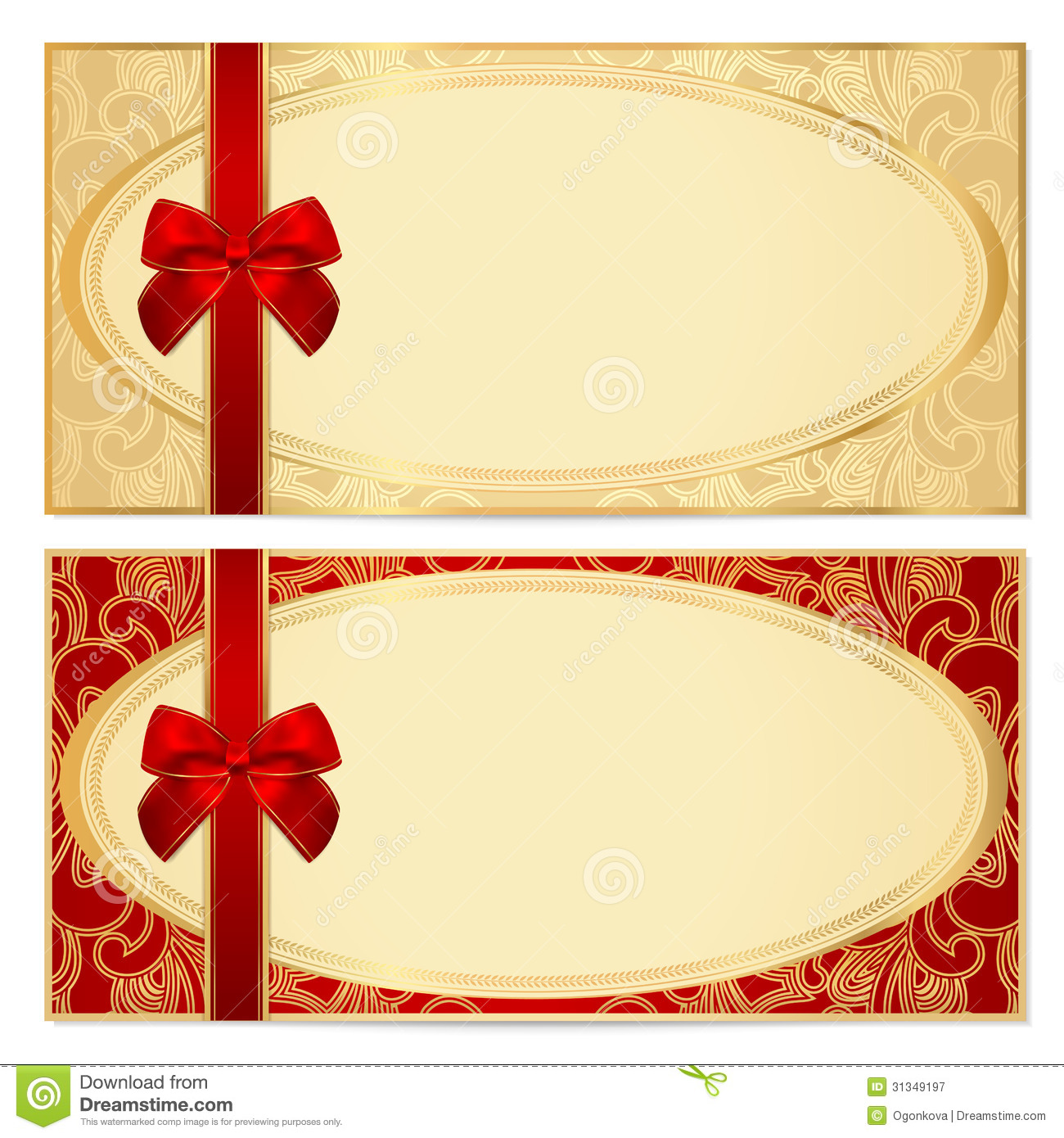 Gift Certificate (Voucher) Template. Bow, Pattern  Free Voucher Design Template