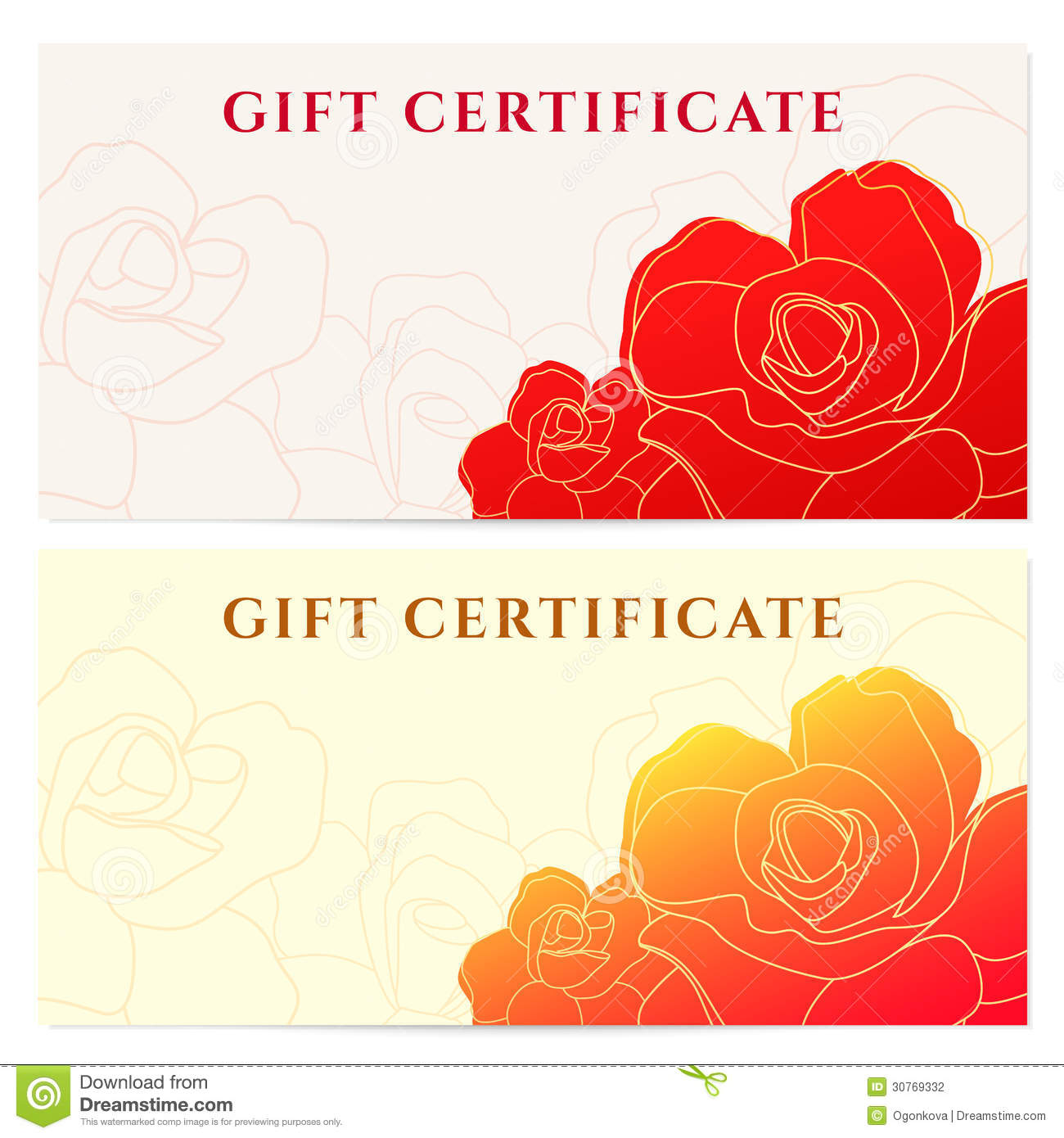 gift certificate voucher template flower pattern stock vector image 30769332. Black Bedroom Furniture Sets. Home Design Ideas