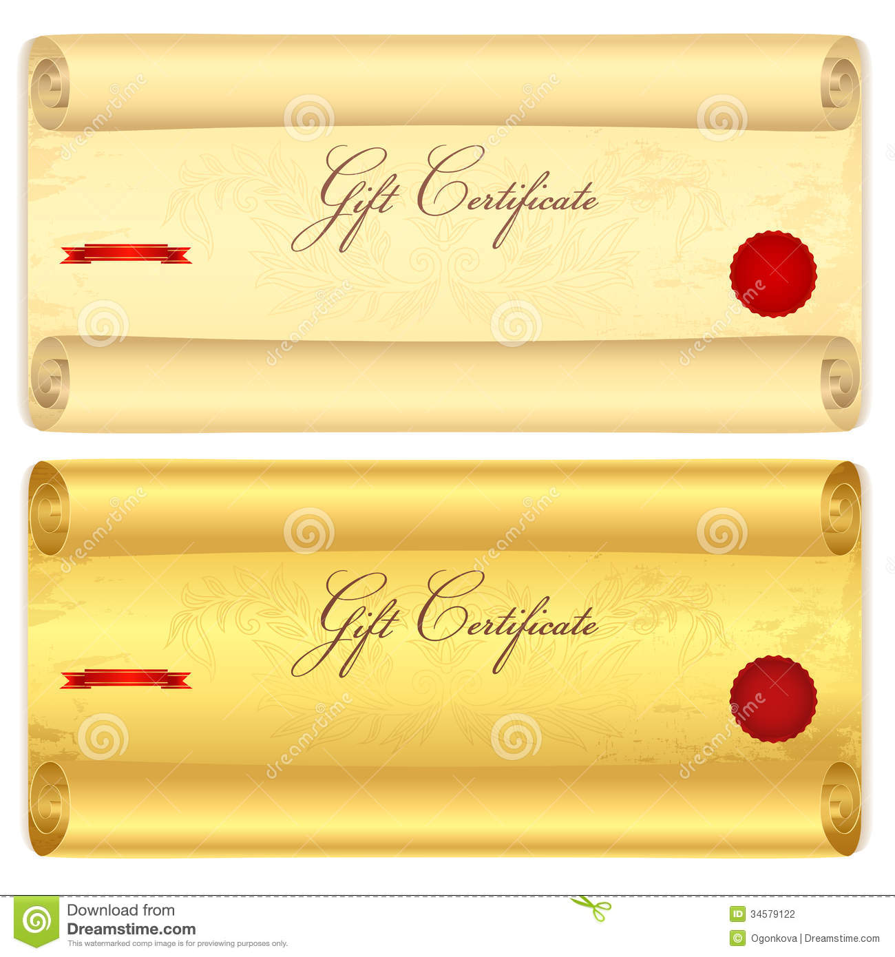 Gift Certificate Voucher Template Old Scroll Pa Stock Vector