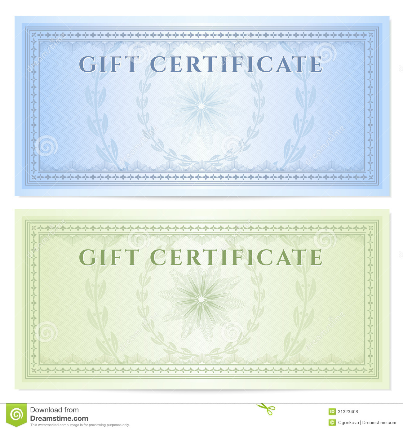 Gift Certificate Voucher Template With Pattern Stock Vector