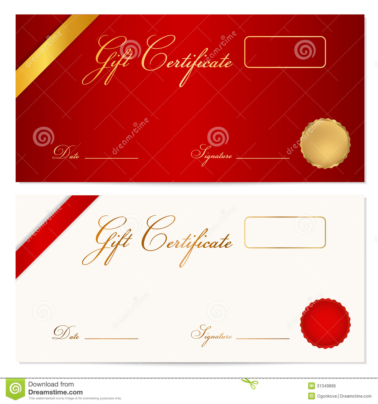 gift certificate voucher template wax seal stock vector