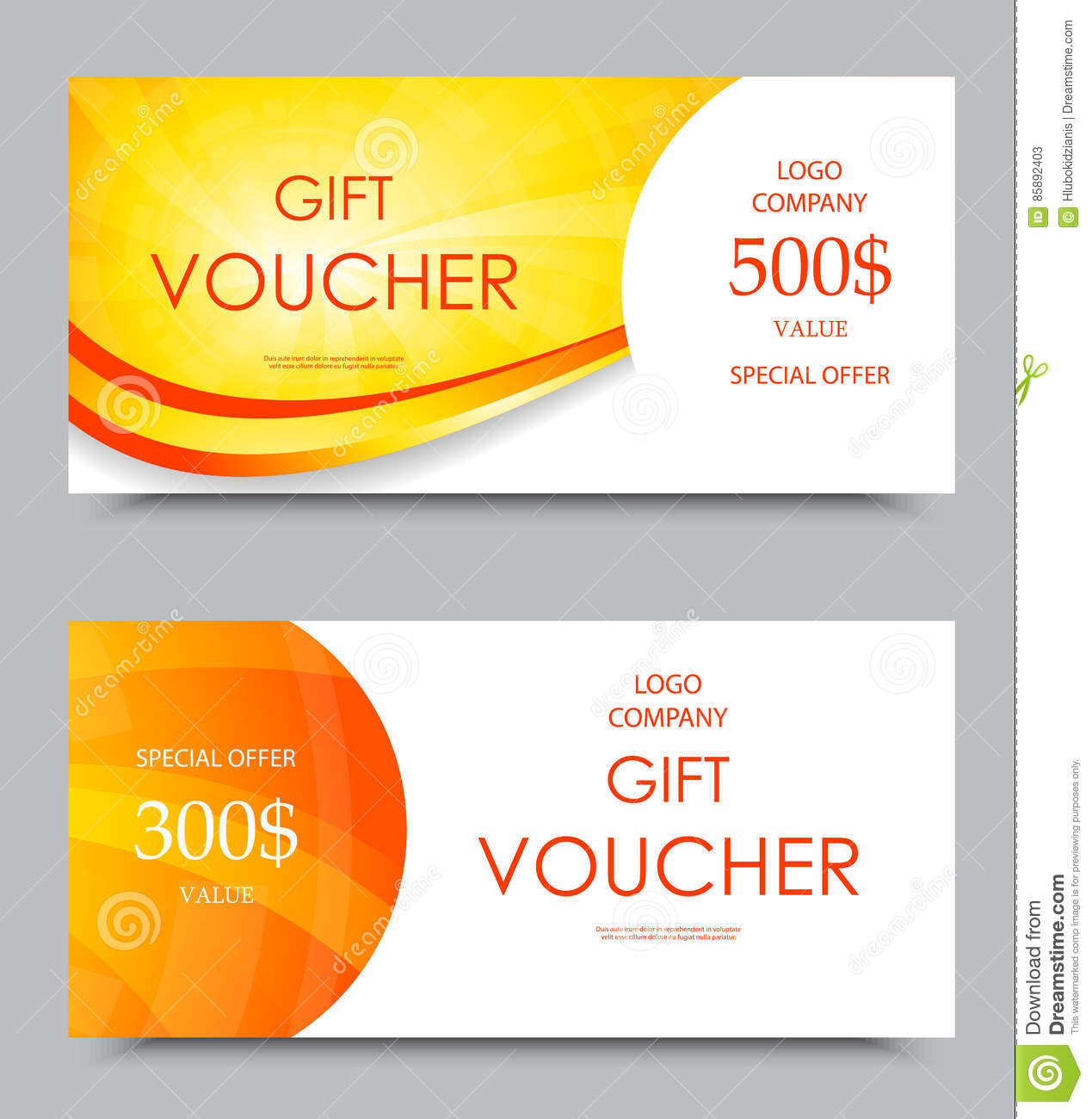 Gift Company Voucher Template Stock Illustration Of Three
