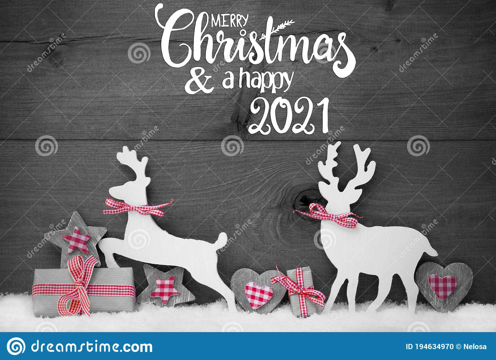 Merry Christmas 2021 Pictures Gray Gift Deer Heart Snow Merry Christmas And Happy 2021 Gray Background Stock Photo Image Of Reindeer White 194634970