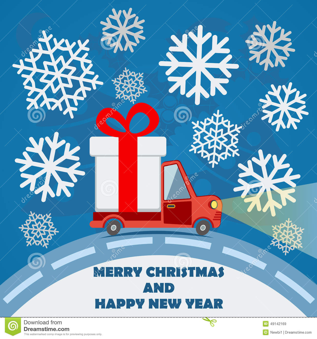 Gift delivery van in Christmas eve.  sc 1 st  Dreamstime.com & Gift Delivery Van In Christmas Eve. Stock Vector - Illustration of ...