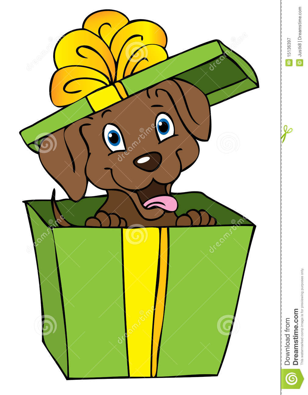 Illustration of an excited little brown puppy in a green gift box with ...