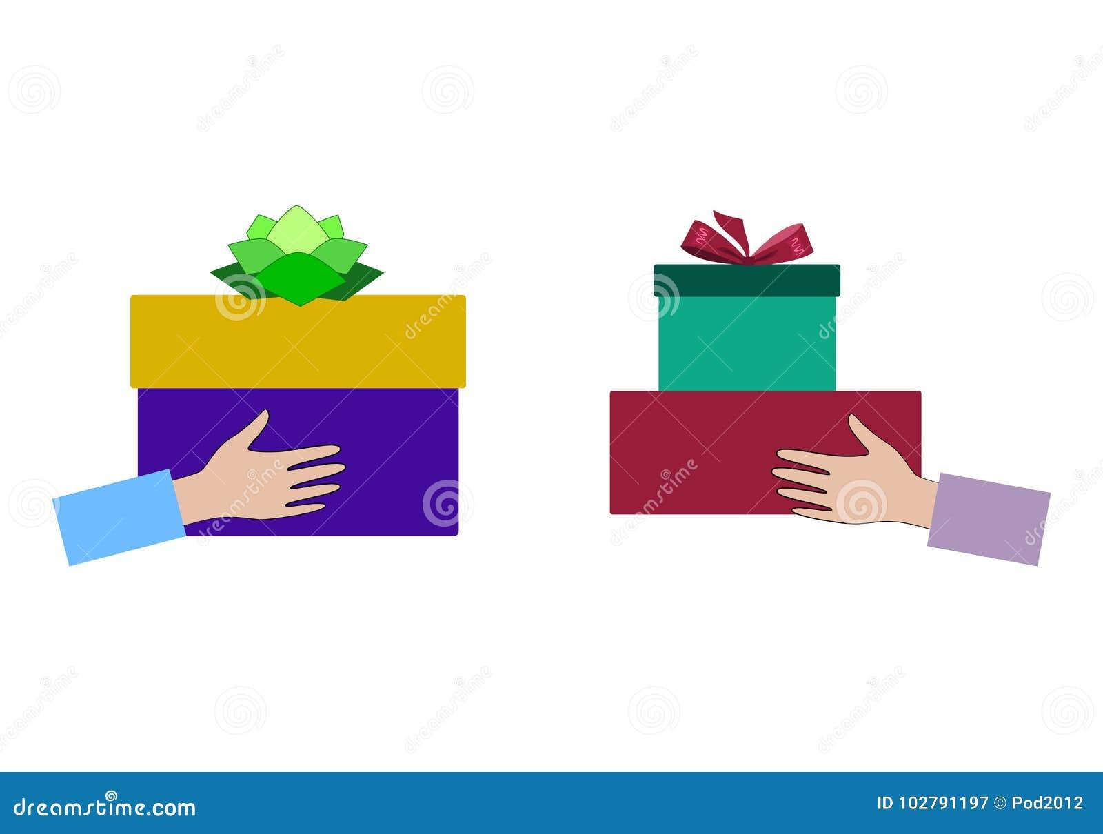 Gift Exchange. Concept Holidays, Celebrations, Present ...