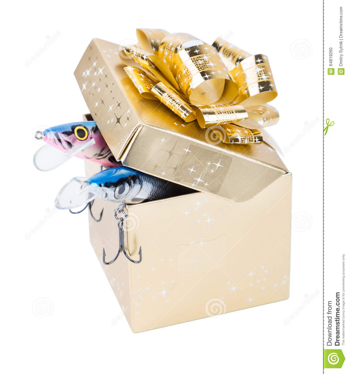 Gift fishing tackles in square box of gold color with bow for Fishing gift box