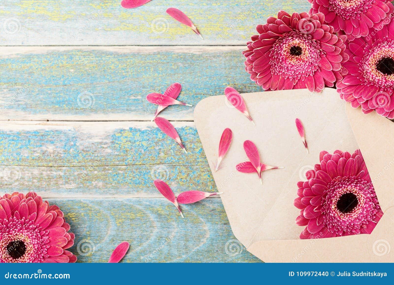 Gift of heden van envelop met de bloem van het gerberamadeliefje Uitstekende groetachtergrond voor moeder of van de vrouw dag