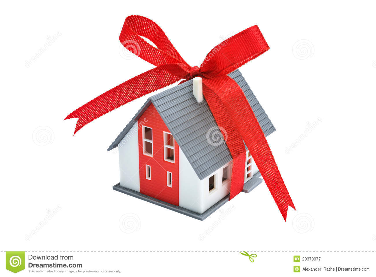 gift house with red ribbon stock image image of building