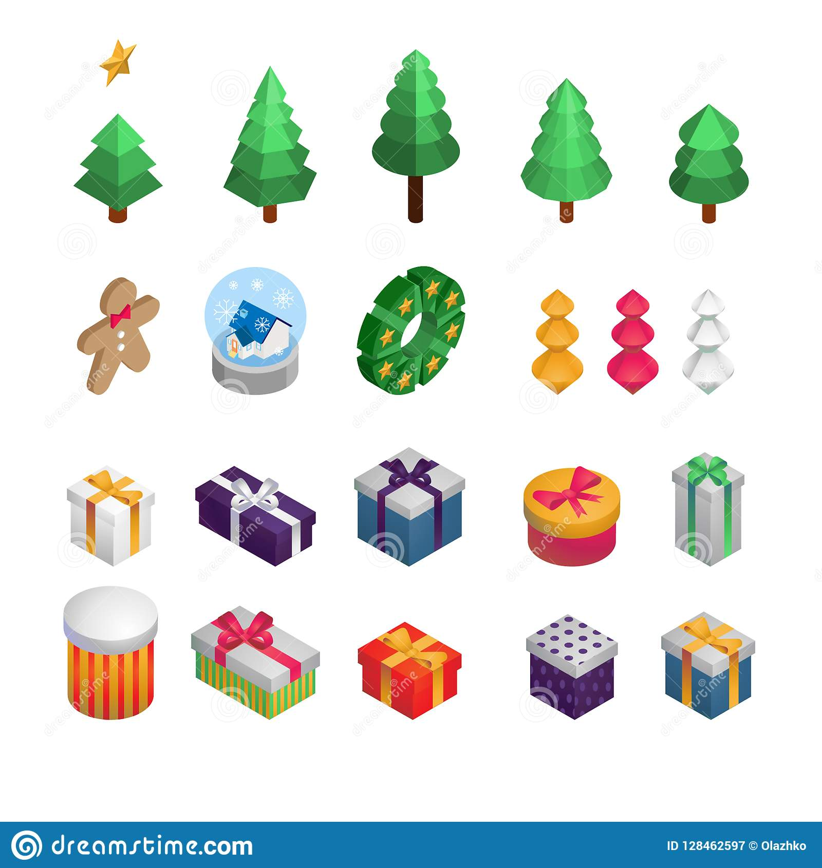 christmas and new year isometric decoration christmas tree decoration gifts cookie
