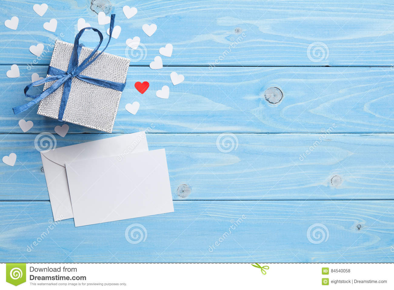 gift and lettet on blue background stock photo image of affection