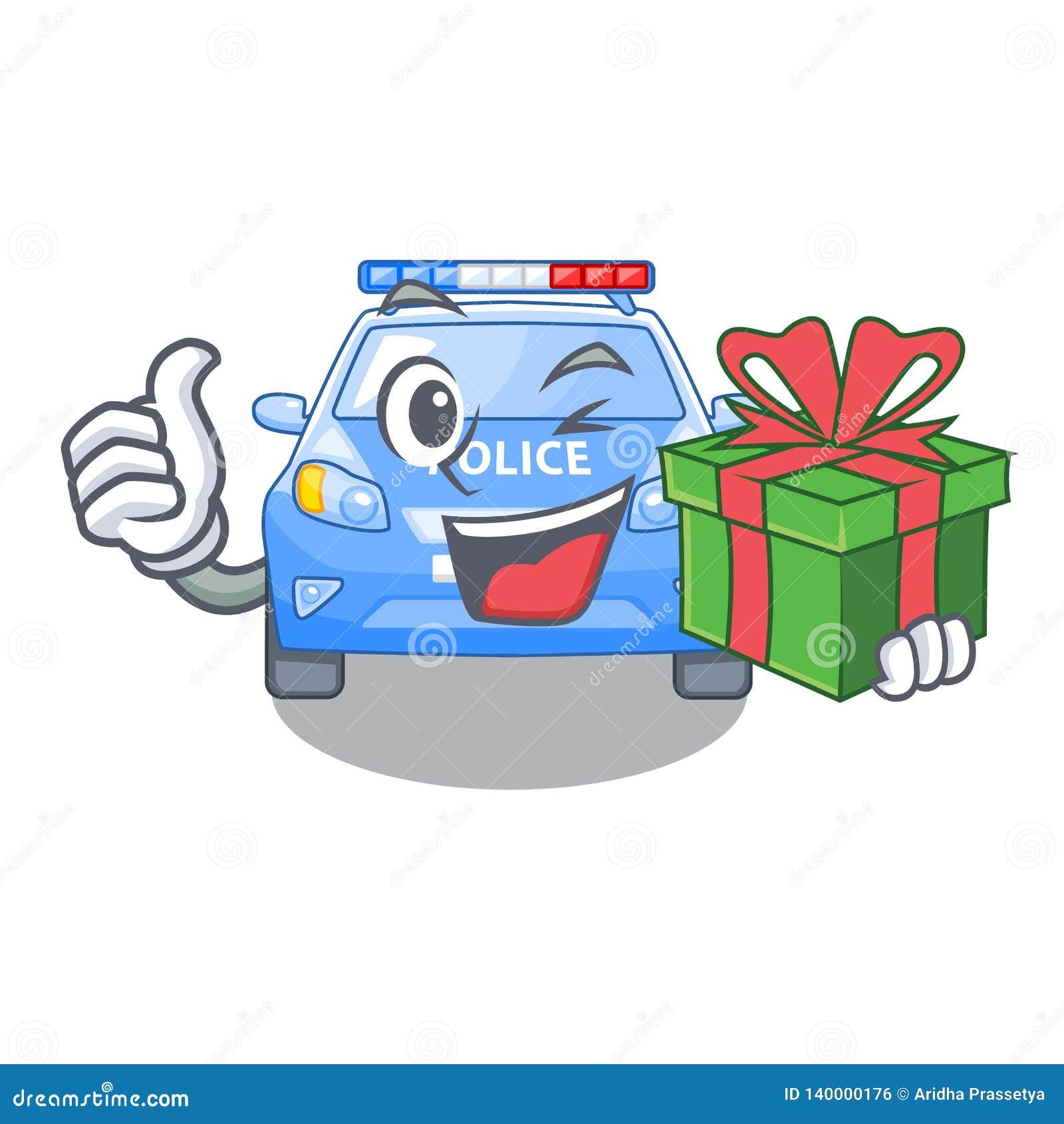 With Gift Miniature Cartoon Police Car On Table Stock Vector