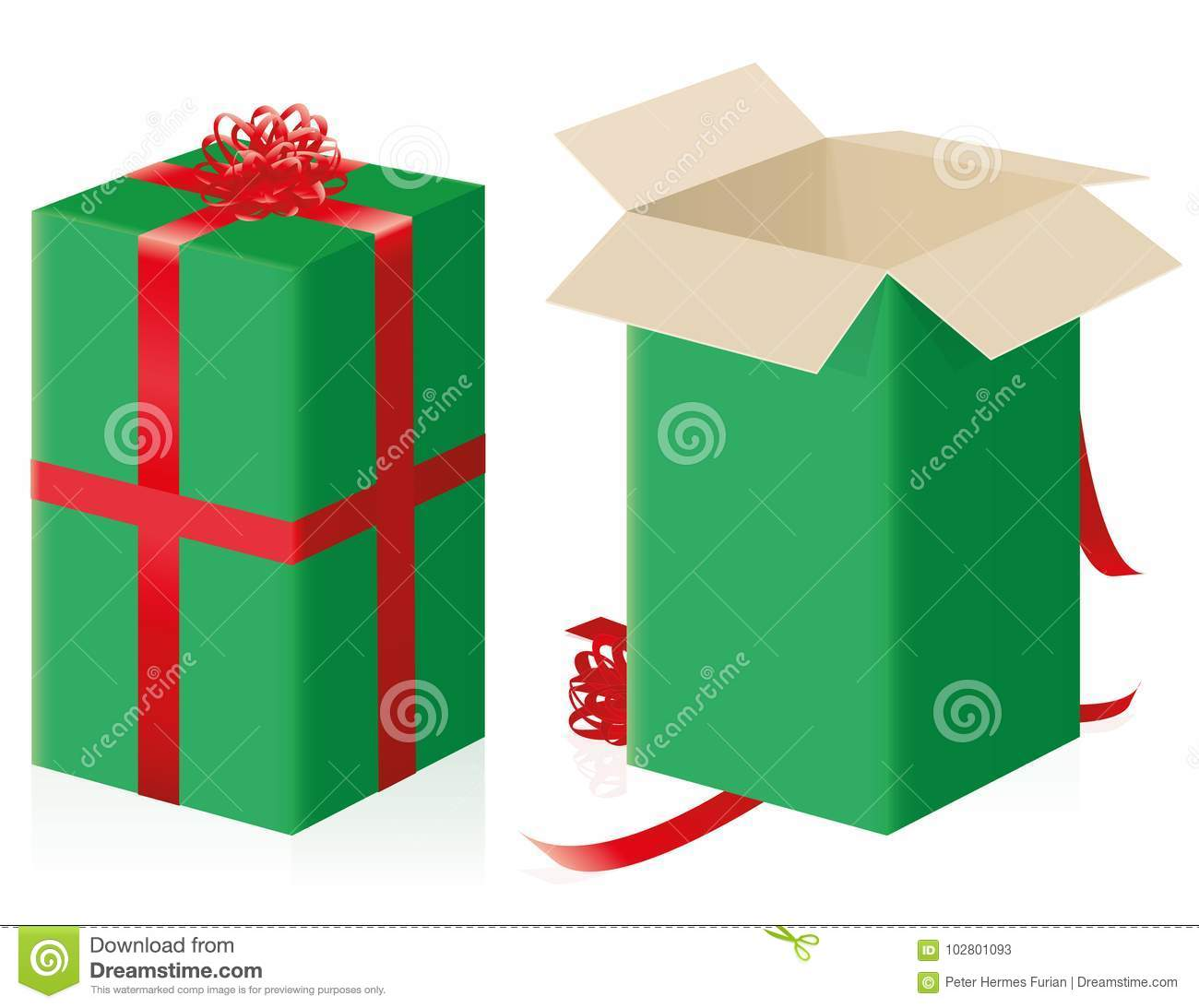 ff7a9a185284b Closed an opened gift package - high size parcel with green wrapping paper  and red ribbons - isolated vector illustration on white background.
