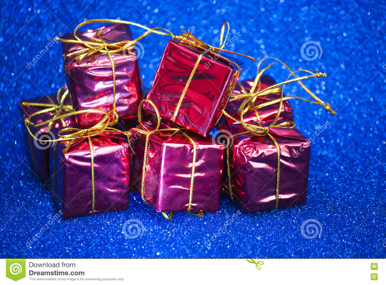 Gift packages for a party such as Christmas or birthday on bright blue background  sc 1 st  Dreamstime.com & Gift Packages On Bright Blue Background Stock Image - Image of ...