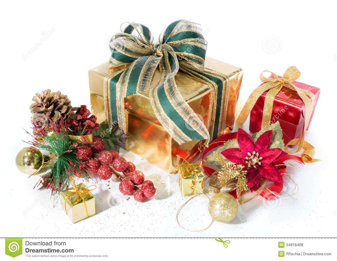 Gift packages christmas red and golden with decorations stock