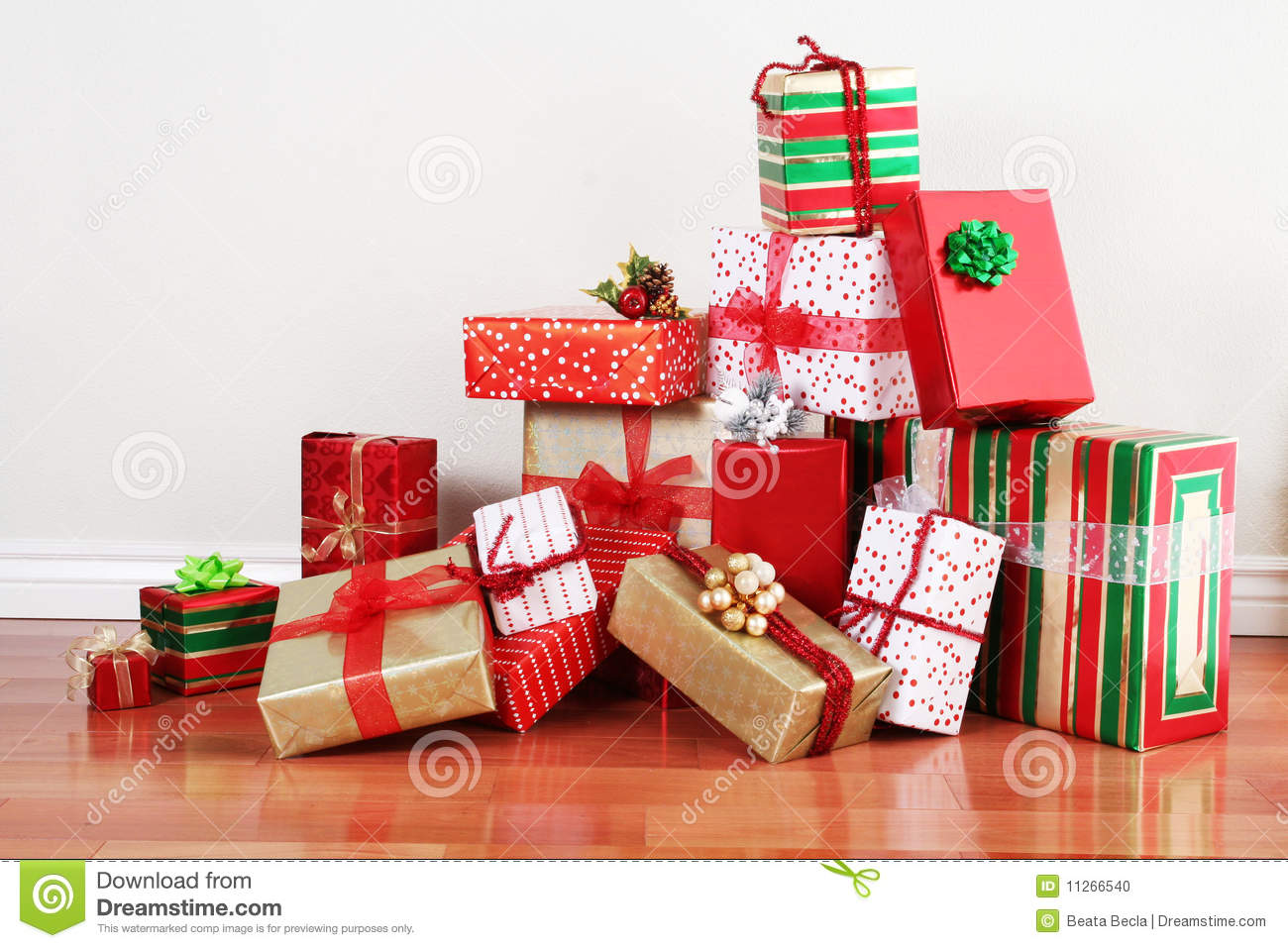Gift pile on a floor stock photo image