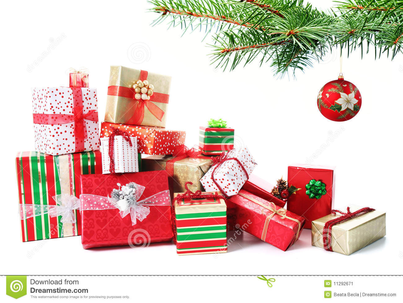Gift Pile Under A Christmas Tree