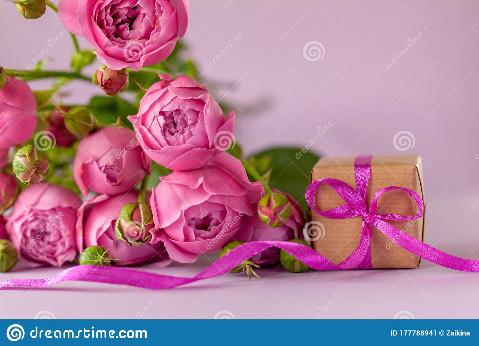 Gift Present Box With Beautiful Pink Flowers Roses Bouquet Concept Mother S Day Happy Birthday Stock Image Image Of Copy Happy 177788941