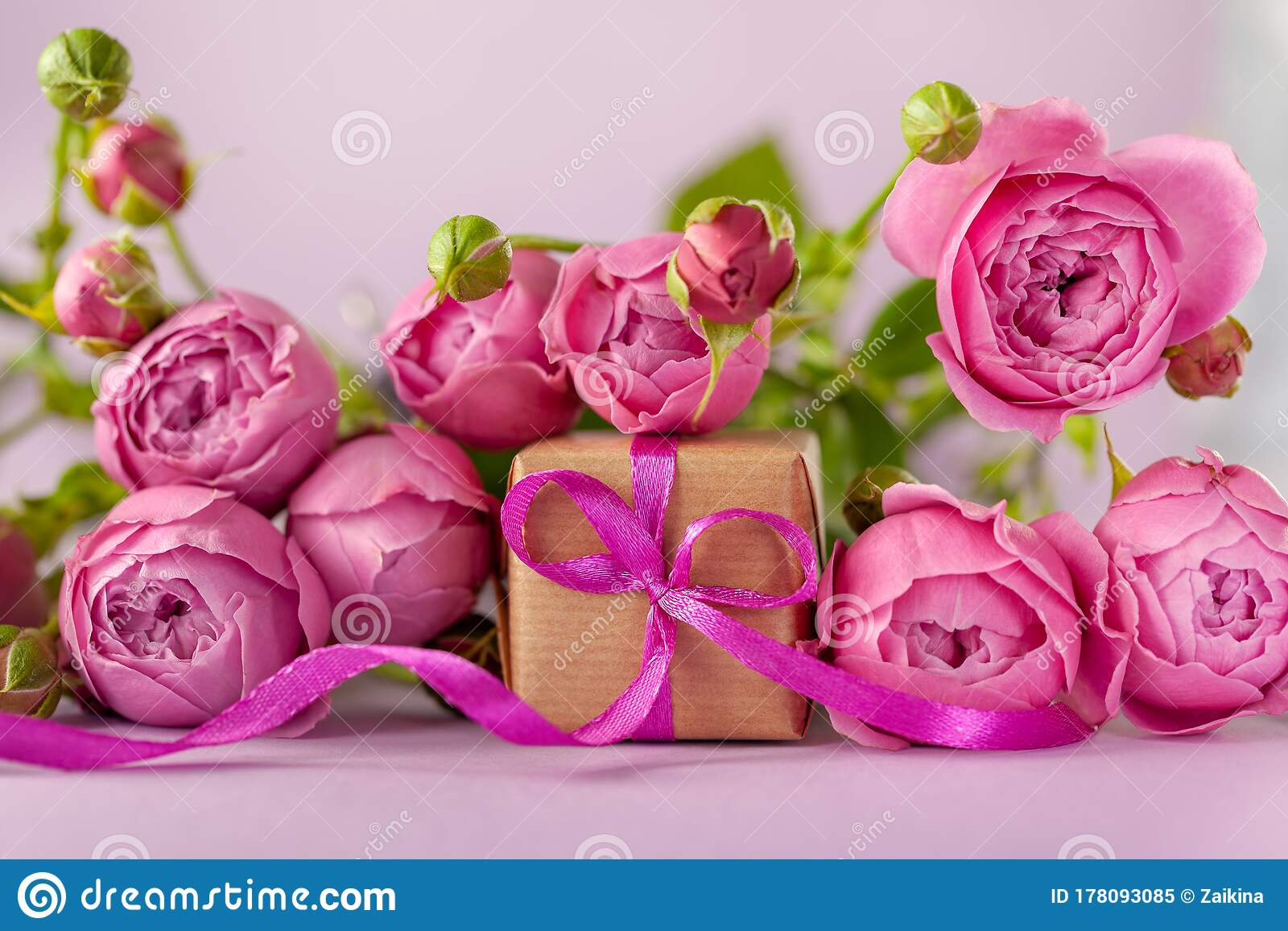 Gift Present Box With Beautiful Pink Flowers Roses Bouquet Concept Mother S Day Happy Birthday Stock Image Image Of Decoration Bright 178093085
