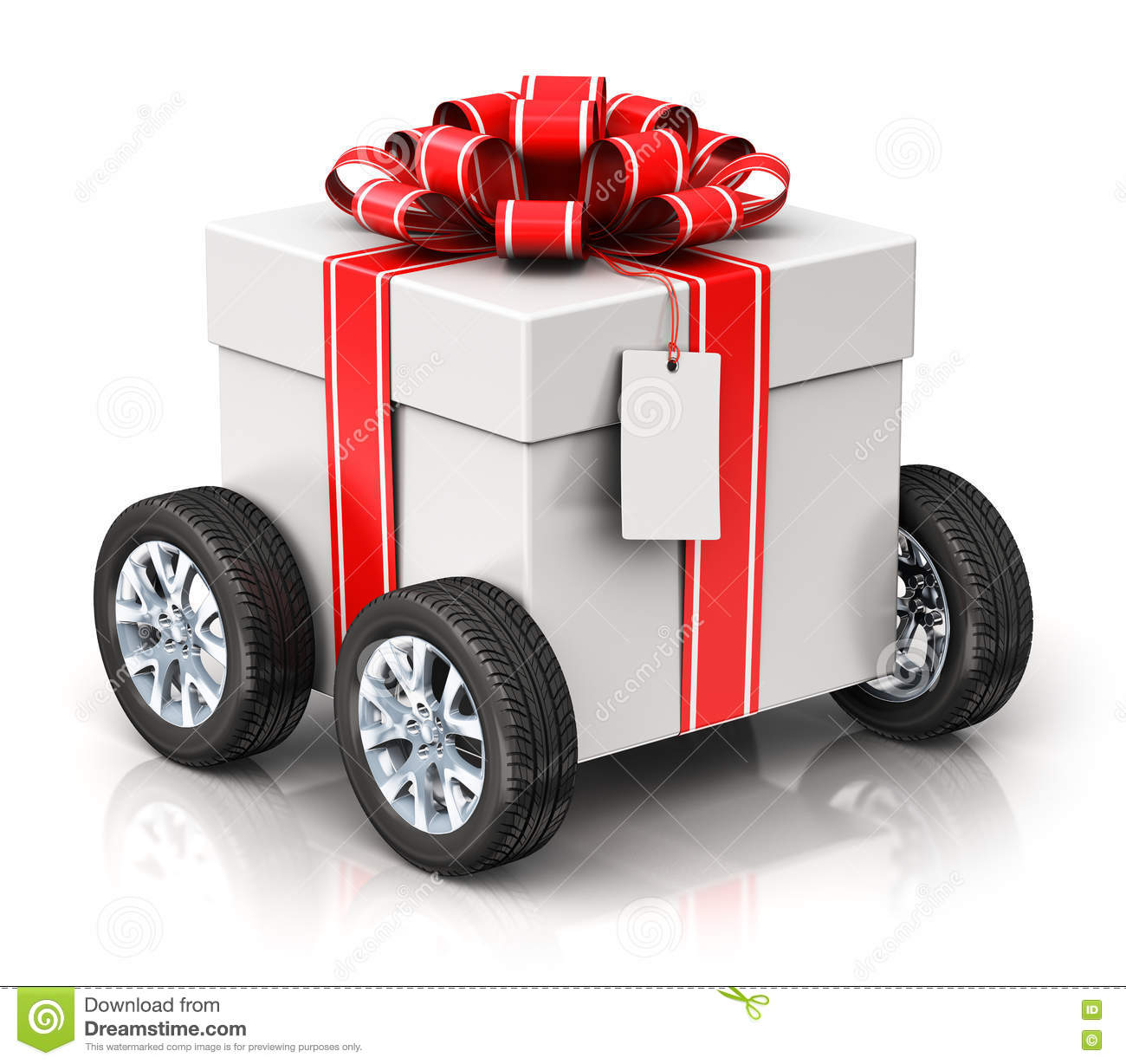 Gift Or Present Box With Car Wheels Stock Illustration Image