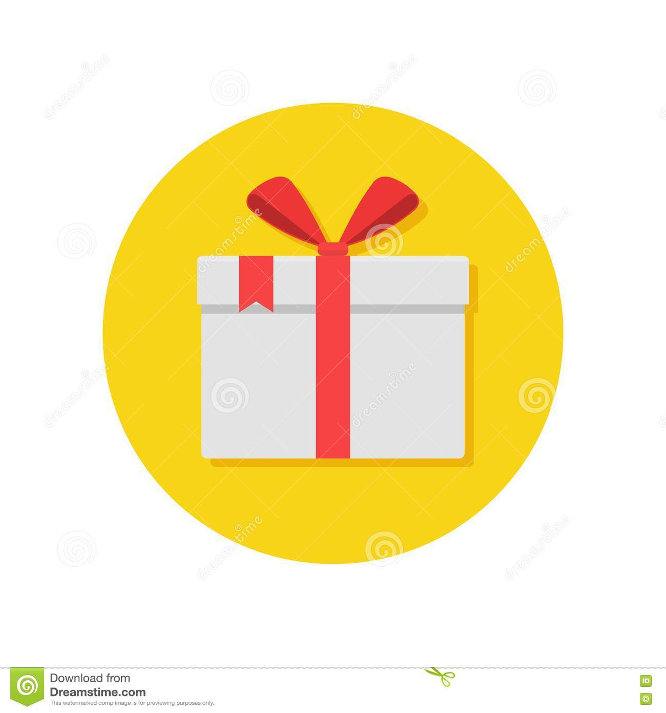 Gift Box Icon Red : Gift or present box icon with red ribbon and bow stock
