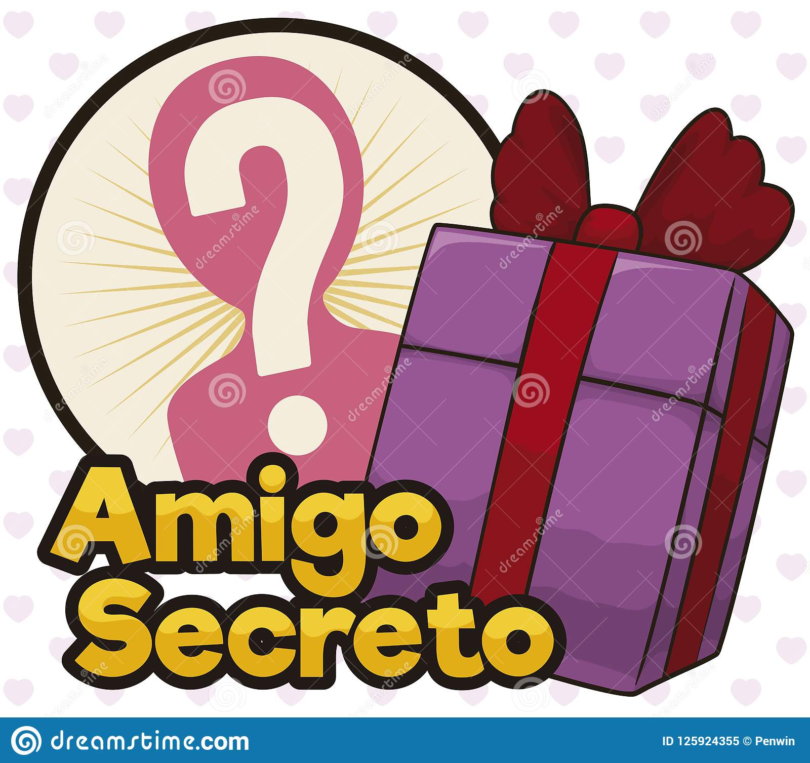Gift in a Box to Play the Secret Friend Game, Vector Illustration