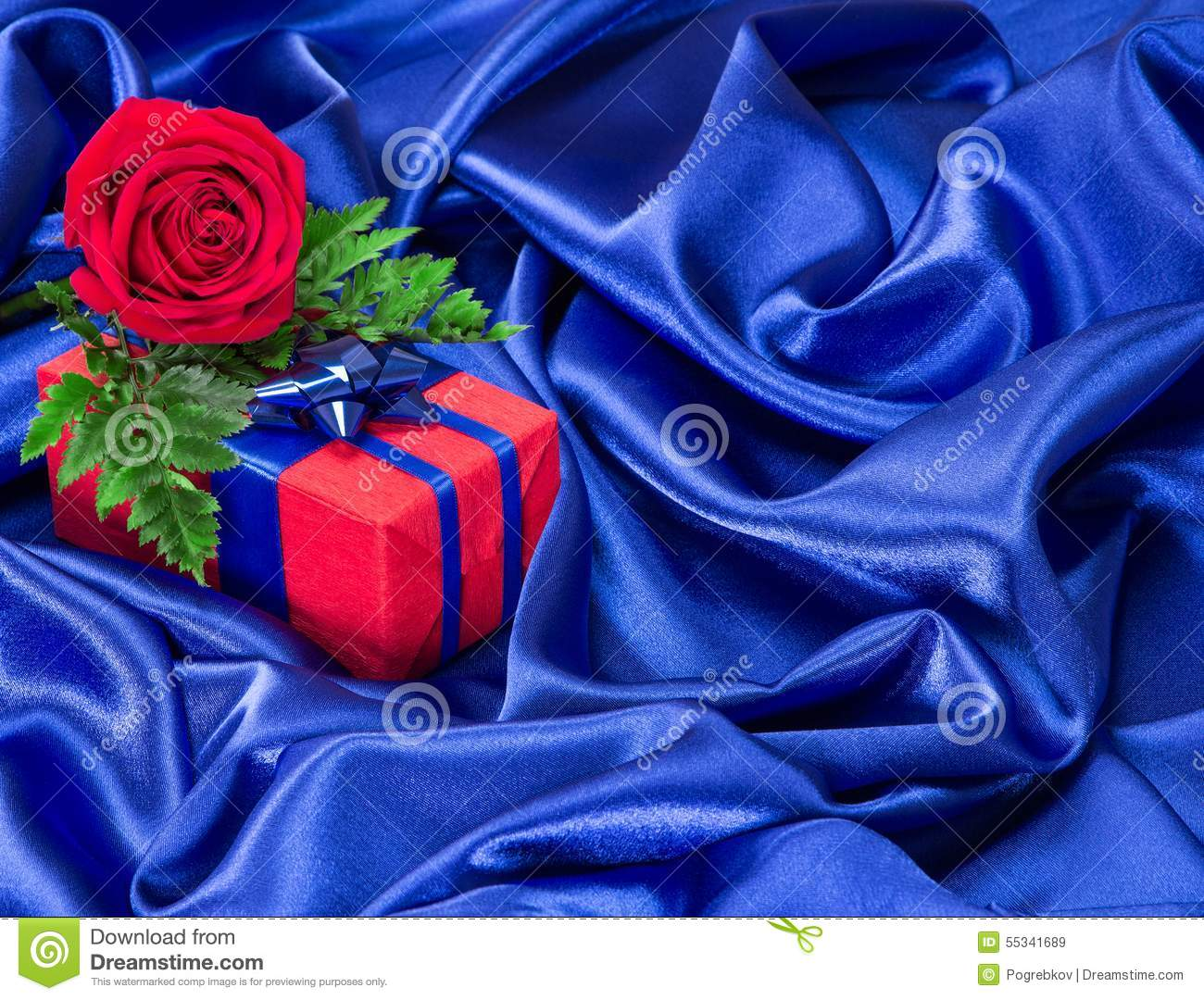 Gift with rose on silk fabric stock photo image 55341689 for Red space fabric