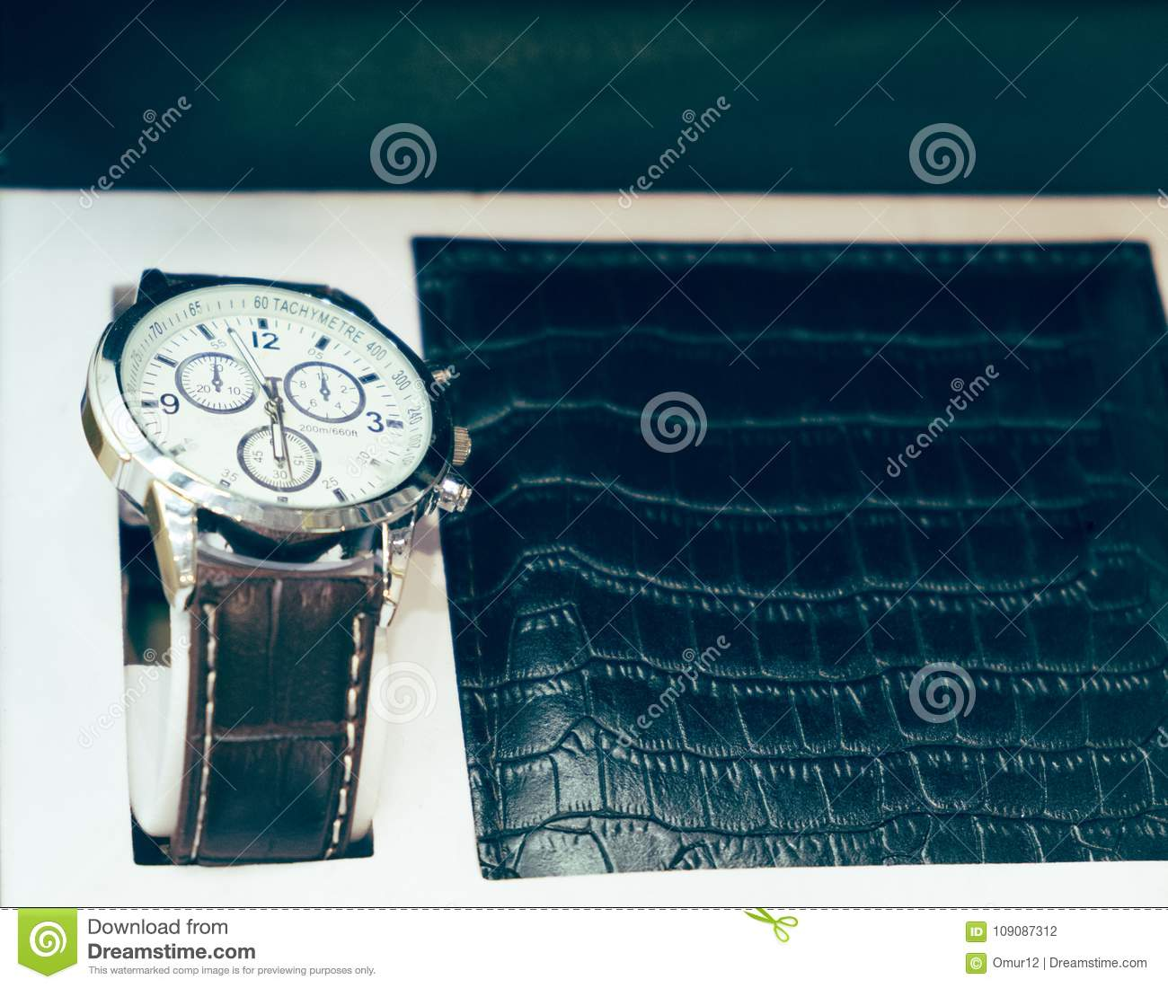 Gift Set For Men Watch And Purse Stock Photo Image Of Items Black 109087312