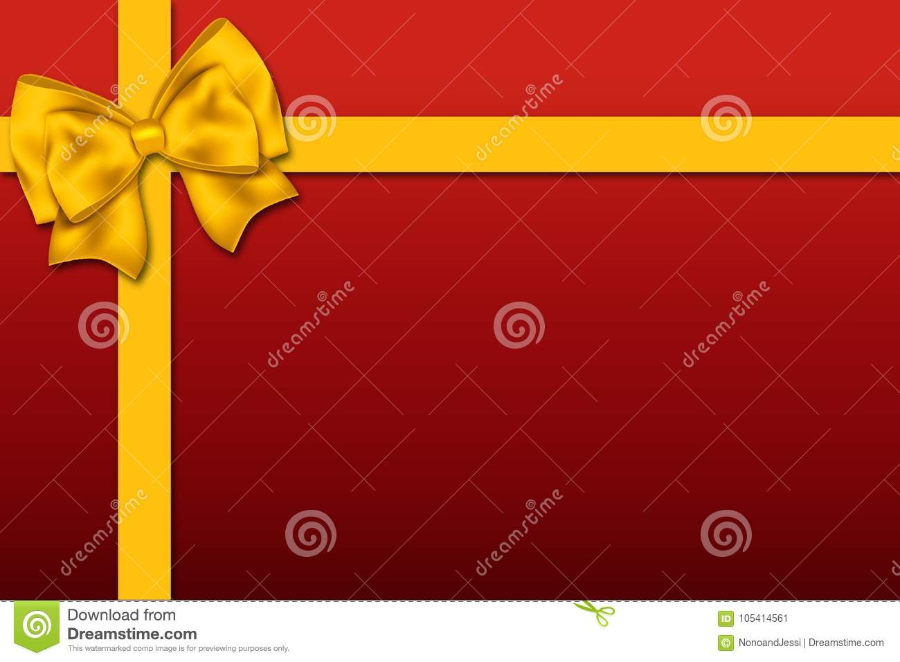 Gift-shaped illustration with a big ribbon decoration