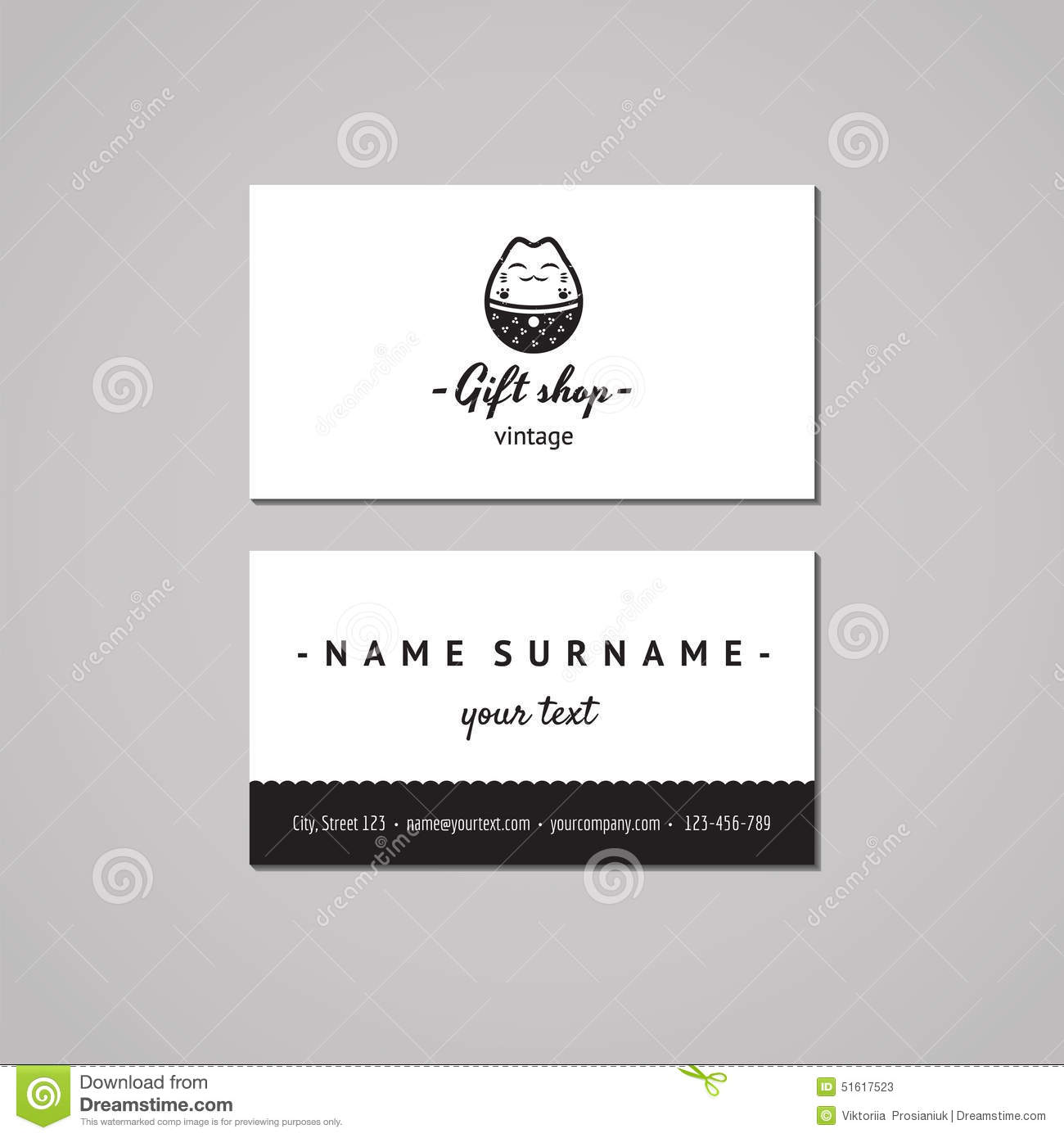 Gift shop and souvenirs business card design concept gift shop gift shop and souvenirs business card design concept gift shop logo with japanese cat vintage hipster and retro style reheart Images