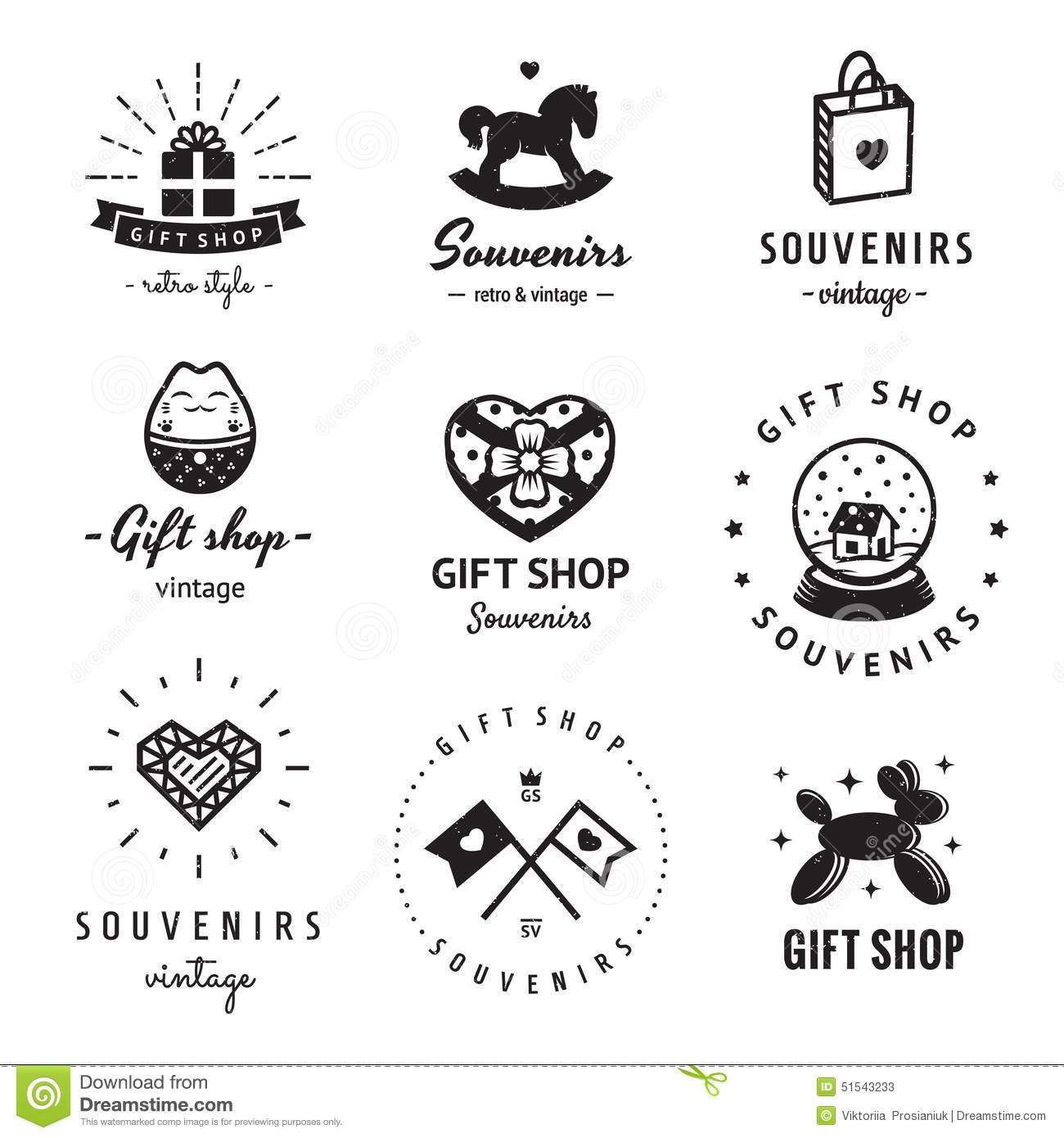 Gift Shop And Souvenirs Logo Vintage Vector Set Hipster